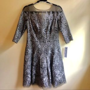 Kay Unger Metallic Embroidered Dress